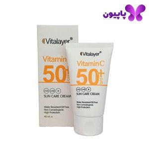 کرم ضد آفتاب حاوی ویتامینC بی رنگ ویتالیر
